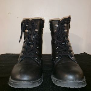 Black Faux Leather Rampage Combat Boots